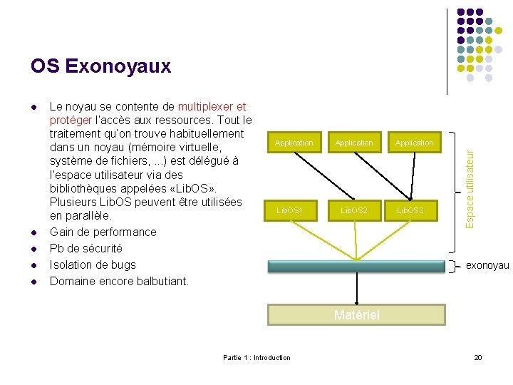 OS Exonoyaux l l Le noyau se contente de multiplexer et protéger l'accès aux