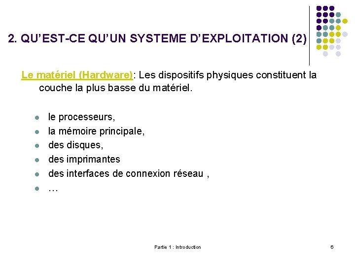 2. QU'EST-CE QU'UN SYSTEME D'EXPLOITATION (2) Le matériel (Hardware): Les dispositifs physiques constituent la