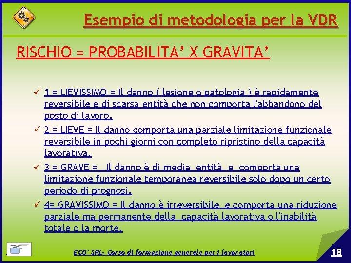 Esempio di metodologia per la VDR RISCHIO = PROBABILITA' X GRAVITA' 1 = LIEVISSIMO