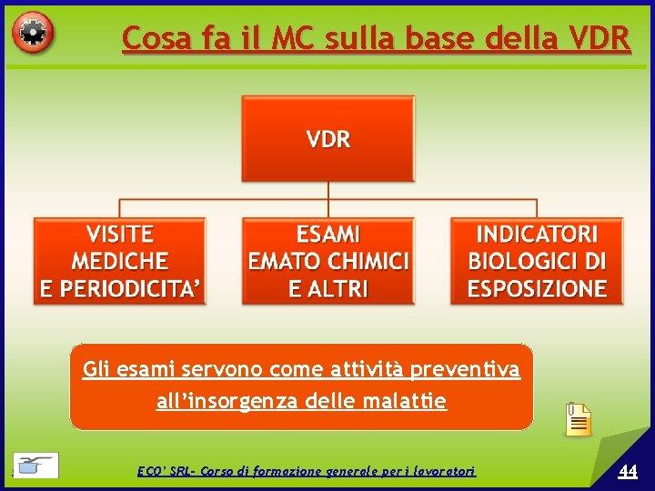 Cosa fa il MC sulla base della VDR Gli esami servono come attività preventiva