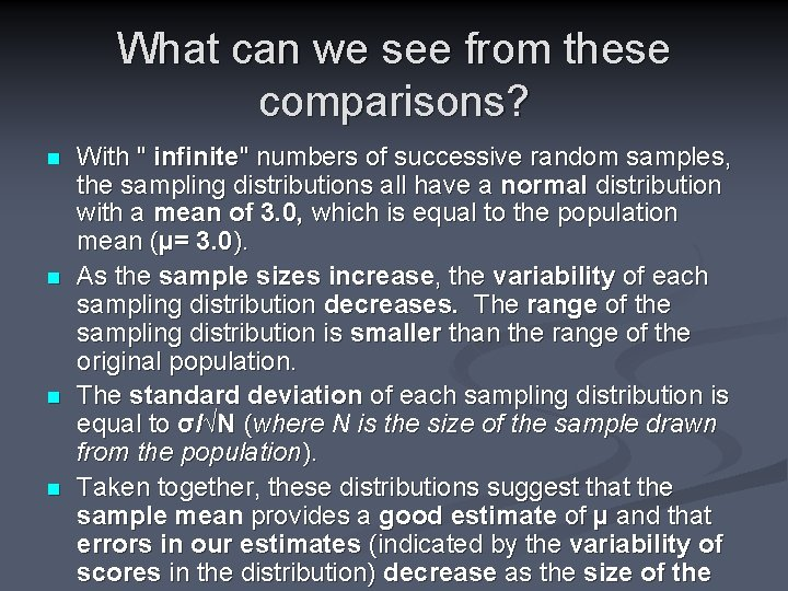 """What can we see from these comparisons? n n With """" infinite"""" numbers of"""