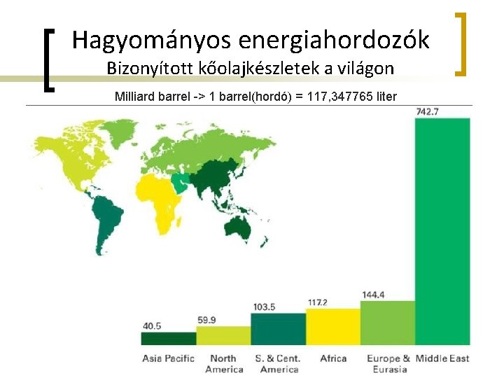 Hagyományos energiahordozók Bizonyított kőolajkészletek a világon Milliard barrel -> 1 barrel(hordó) = 117, 347765