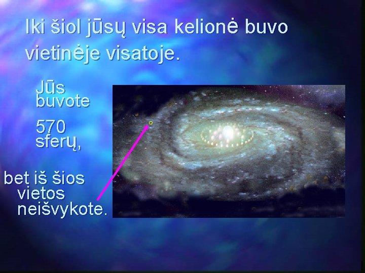Iki šiol jūsų visa kelionė buvo vietinėje visatoje. Jūs buvote 570 sferų, bet iš