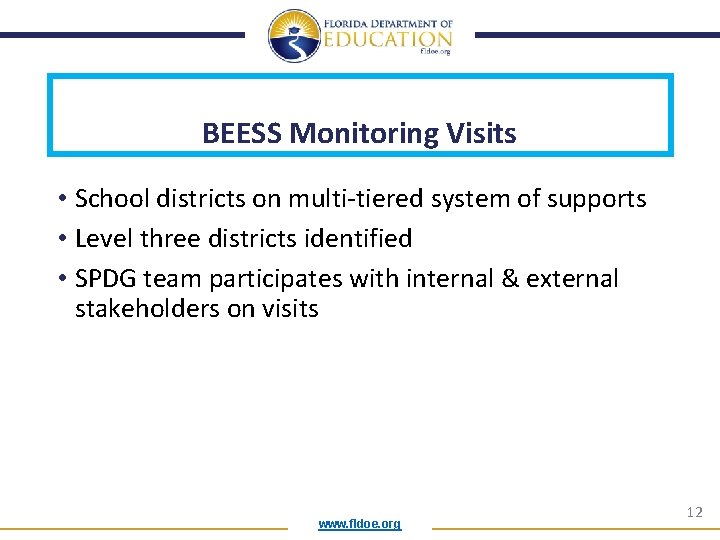 BEESS Monitoring Visits • School districts on multi-tiered system of supports • Level three