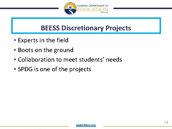 BEESS Discretionary Projects • Experts in the field • Boots on the ground •