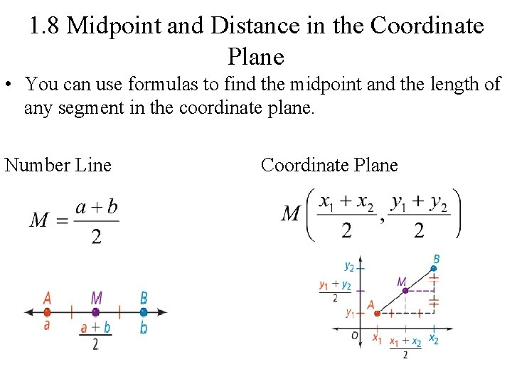 1. 8 Midpoint and Distance in the Coordinate Plane • You can use formulas