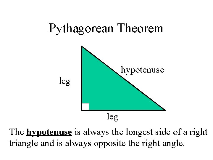 Pythagorean Theorem hypotenuse leg The hypotenuse is always the longest side of a right