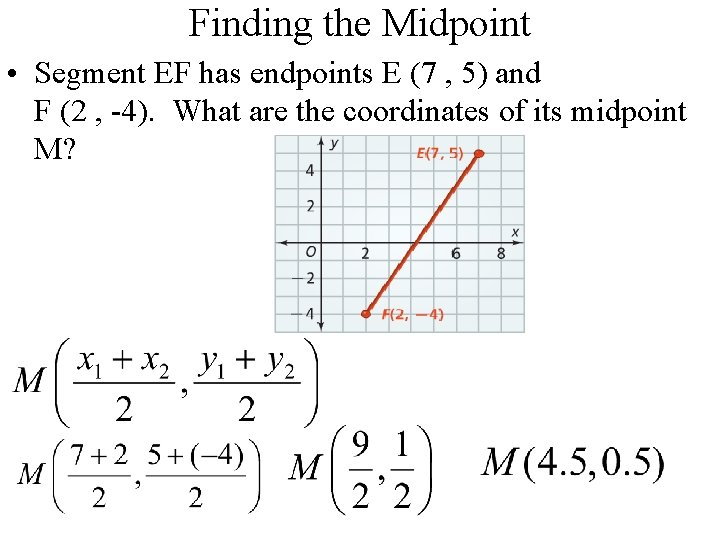 Finding the Midpoint • Segment EF has endpoints E (7 , 5) and F