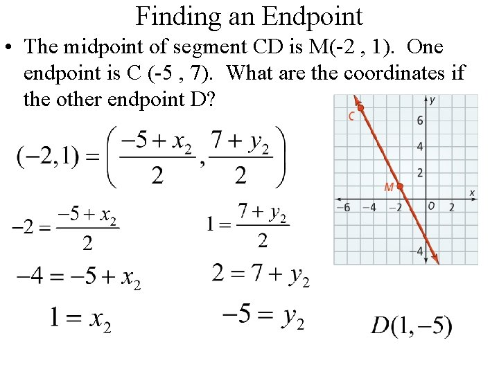 Finding an Endpoint • The midpoint of segment CD is M(-2 , 1). One