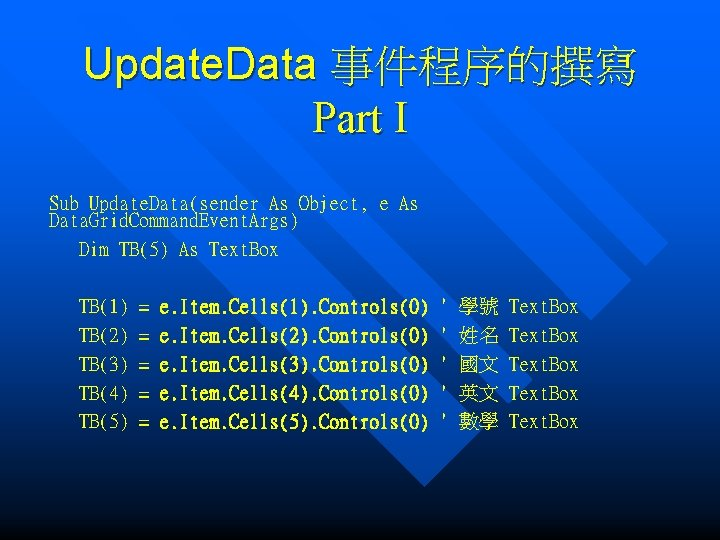 Update. Data 事件程序的撰寫 Part I Sub Update. Data(sender As Object, e As Data. Grid.