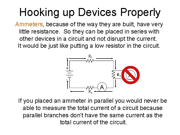 Hooking up Devices Properly Ammeters, because of the way they are built, have very