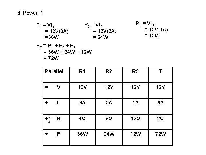 d. Power=? P 1 = VI 1 = 12 V(3 A) =36 W P