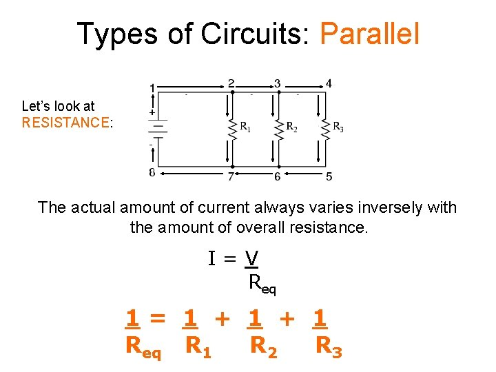 Types of Circuits: Parallel Let's look at RESISTANCE: The actual amount of current always