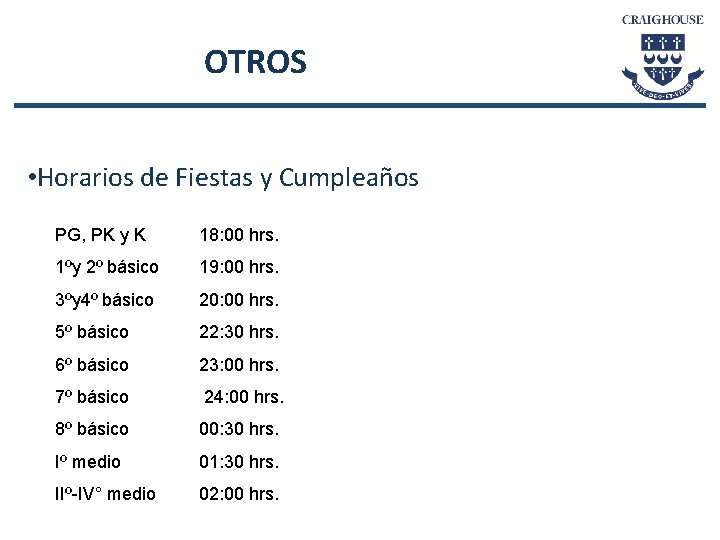 OTROS • Horarios de Fiestas y Cumpleaños PG, PK y K 18: 00 hrs.