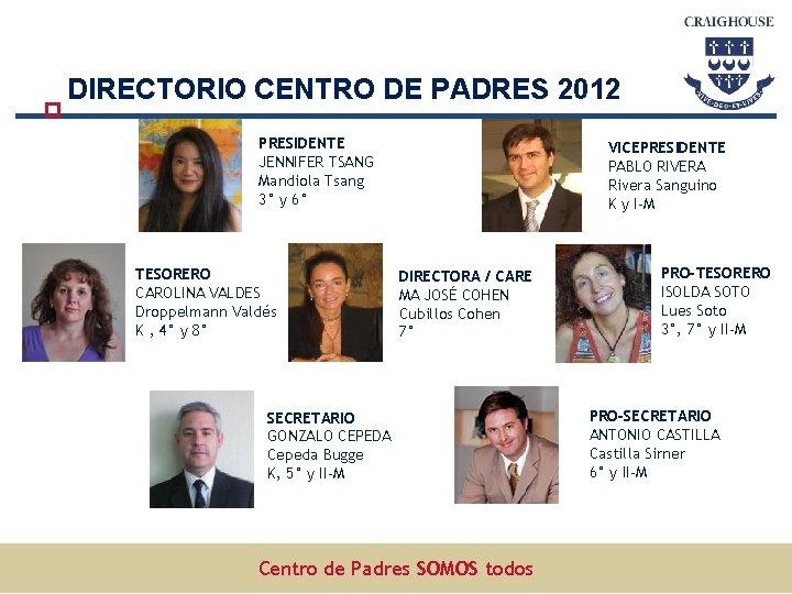 DIRECTORIO CENTRO DE PADRES 2012 PRESIDENTE JENNIFER TSANG Mandiola Tsang 3° y 6° TESORERO