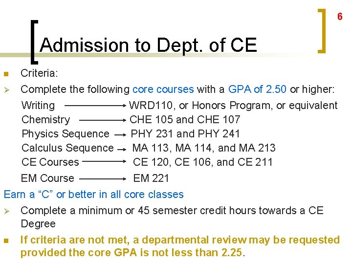 6 Admission to Dept. of CE Criteria: Ø Complete the following core courses with