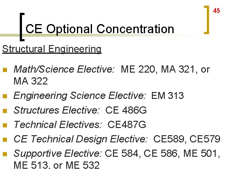 45 CE Optional Concentration Structural Engineering n n n Math/Science Elective: ME 220, MA
