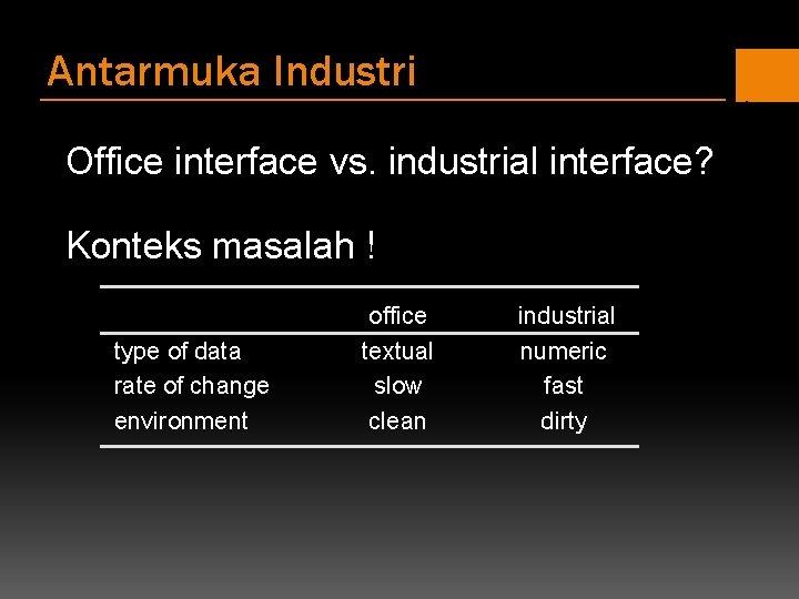 Antarmuka Industri Office interface vs. industrial interface? Konteks masalah ! type of data rate