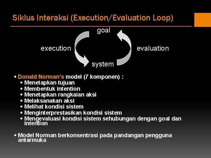 Siklus Interaksi (Execution/Evaluation Loop) goal execution evaluation system § Donald Norman's model (7 komponen)