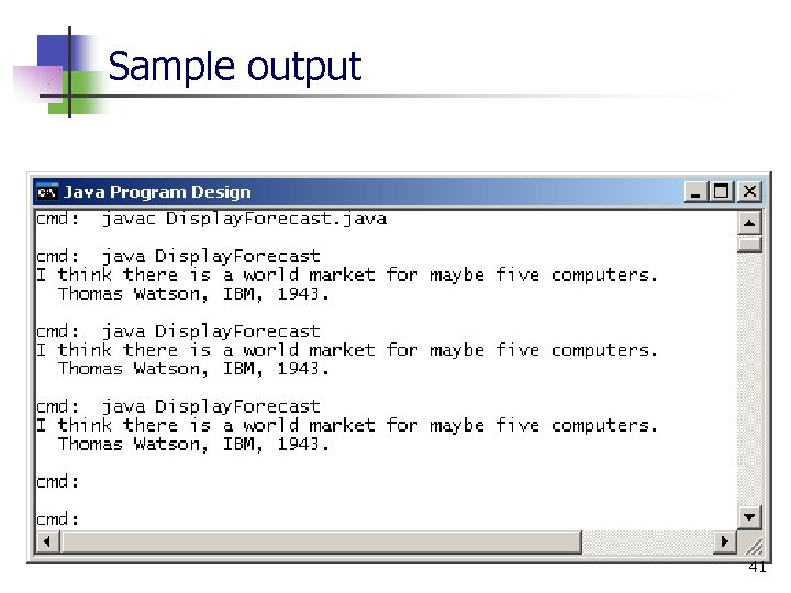 Sample output 41