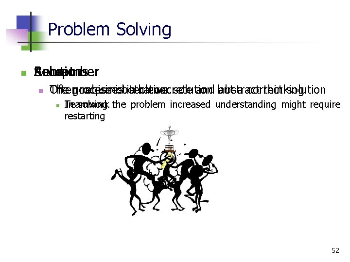 Problem Solving n Remember Solutions Accept n goal is not a clever solution a