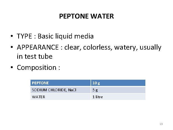 PEPTONE WATER • TYPE : Basic liquid media • APPEARANCE : clear, colorless, watery,