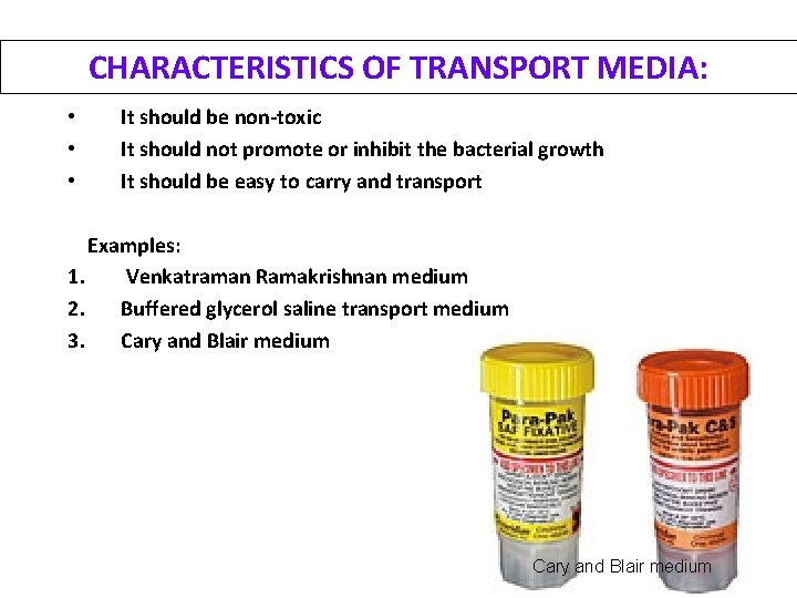 CHARACTERISTICS OF TRANSPORT MEDIA: • • • It should be non-toxic It should not