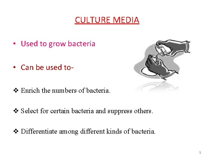 CULTURE MEDIA • Used to grow bacteria • Can be used tov Enrich the