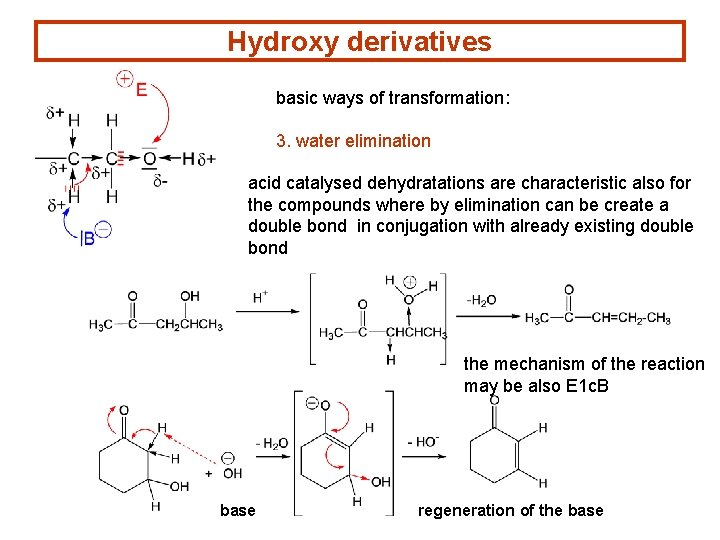 Hydroxy derivatives basic ways of transformation: 3. water elimination acid catalysed dehydratations are characteristic