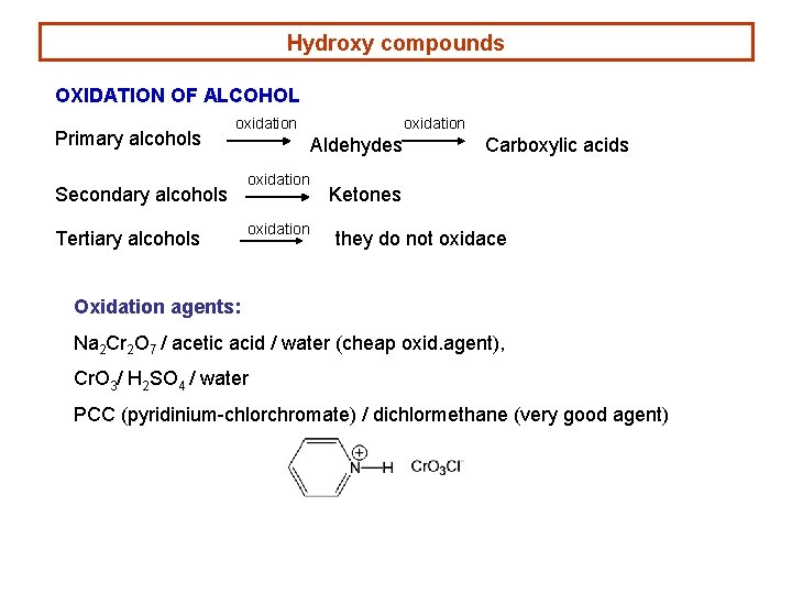 Hydroxy compounds OXIDATION OF ALCOHOL Primary alcohols oxidation Secondary alcohols Tertiary alcohols oxidation Aldehydes