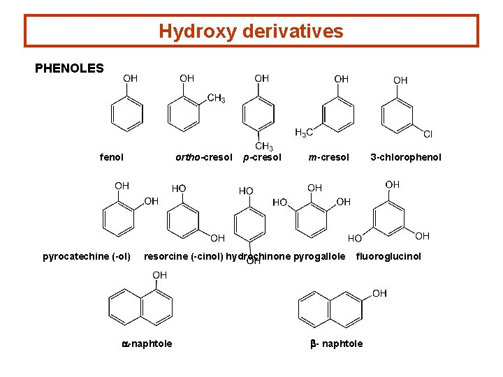 Hydroxy derivatives PHENOLES fenol pyrocatechine (-ol) ortho-cresol p-cresol m-cresol resorcine (-cinol) hydrochinone pyrogallole a-naphtole