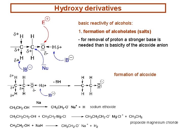 Hydroxy derivatives basic reactivity of alcohols: 1. formation of alcoholates (salts) - for removal