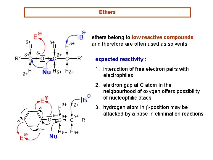 Ethers ethers belong to low reactive compounds and therefore are often used as solvents