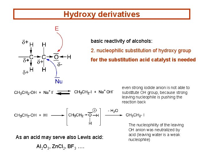 Hydroxy derivatives basic reactivity of alcohols: 2. nucleophilic substitution of hydroxy group for the