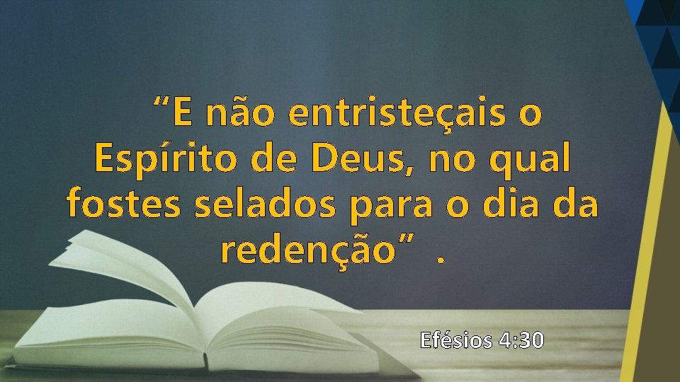 """""""E não entristeçais o Espírito de Deus, no qual fostes selados para o dia"""