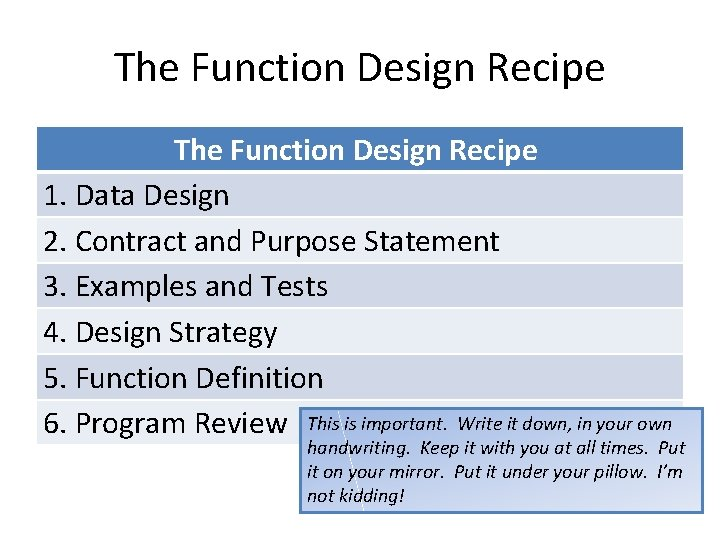 The Function Design Recipe 1. Data Design 2. Contract and Purpose Statement 3. Examples
