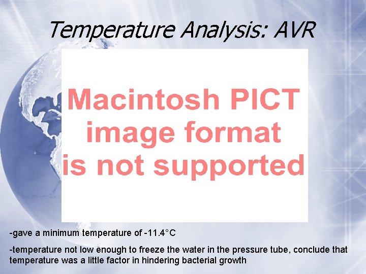 Temperature Analysis: AVR -gave a minimum temperature of -11. 4°C -temperature not low enough