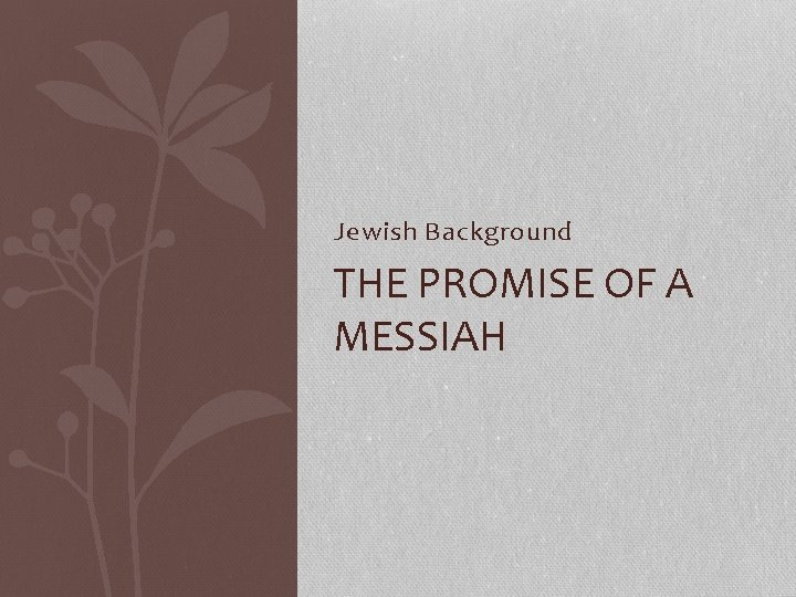 Jewish Background THE PROMISE OF A MESSIAH