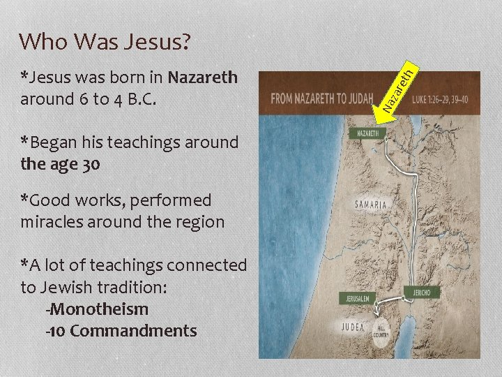 *Began his teachings around the age 30 *Good works, performed miracles around the region