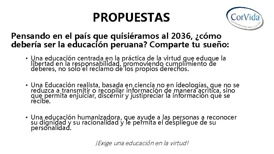 PROPUESTAS Pensando en el país que quisiéramos al 2036, ¿cómo debería ser la educación