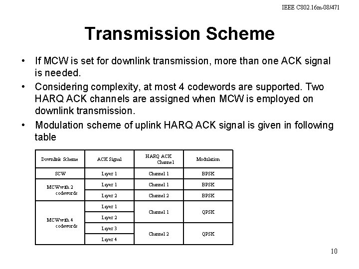 IEEE C 802. 16 m-08/471 Transmission Scheme • If MCW is set for downlink