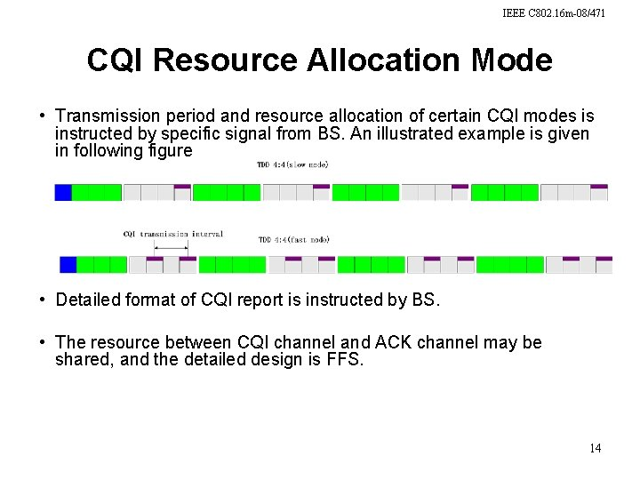 IEEE C 802. 16 m-08/471 CQI Resource Allocation Mode • Transmission period and resource