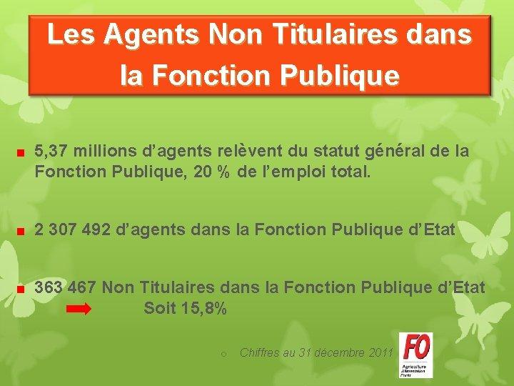 Les Agents Non Titulaires dans la Fonction Publique 5, 37 millions d'agents relèvent du