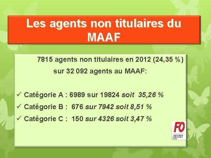 Les agents non titulaires du MAAF 7815 agents non titulaires en 2012 (24, 35