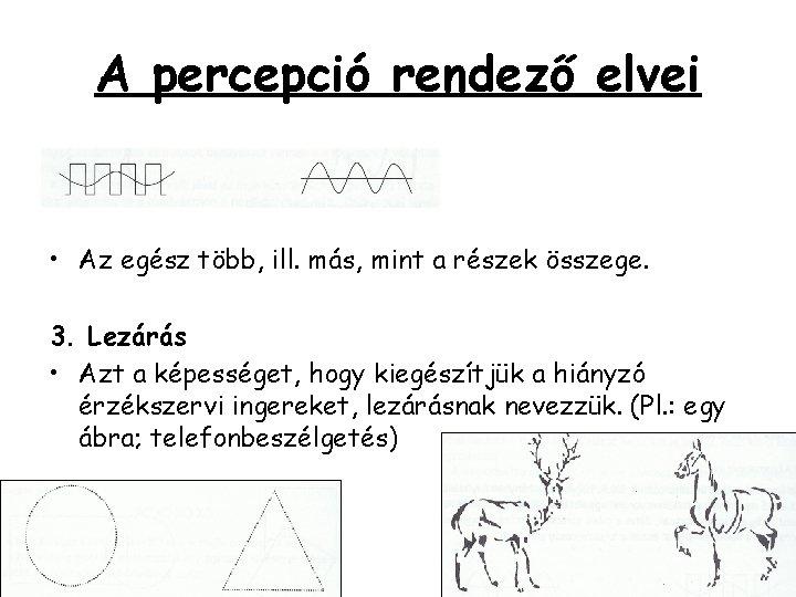 A percepció rendező elvei • Az egész több, ill. más, mint a részek összege.