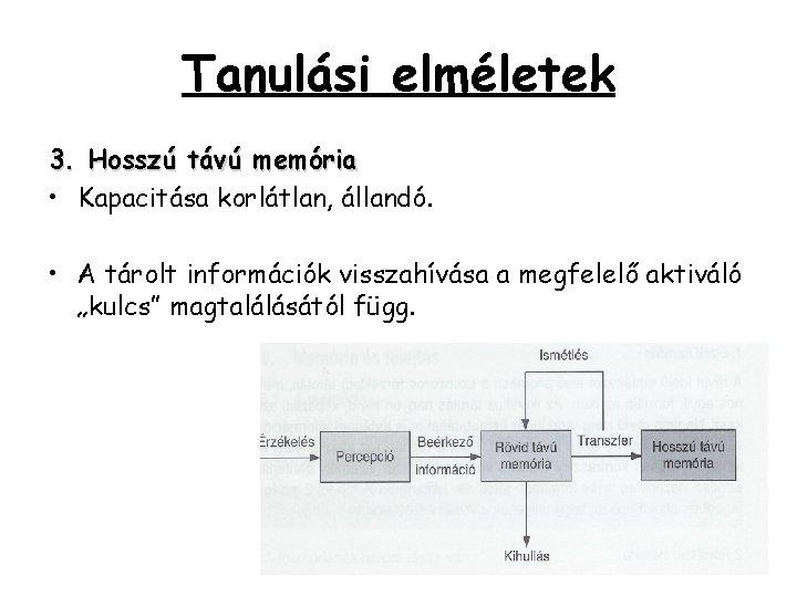 Tanulási elméletek 3. Hosszú távú memória • Kapacitása korlátlan, állandó. • A tárolt információk