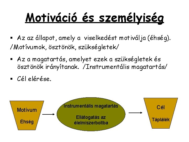 Motiváció és személyiség § Az az állapot, amely a viselkedést motiválja (éhség). /Motívumok, ösztönök,