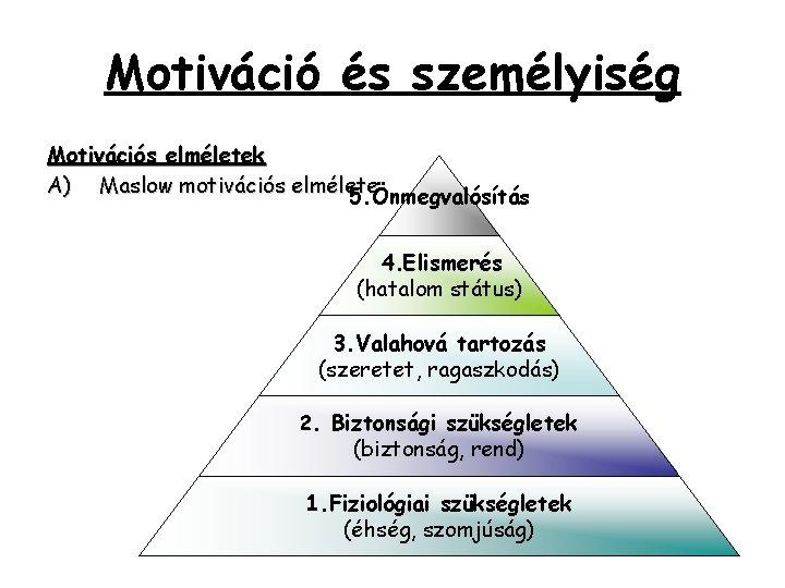 Motiváció és személyiség Motivációs elméletek A) Maslow motivációs elmélete 5. Önmegvalósítás 4. Elismerés (hatalom