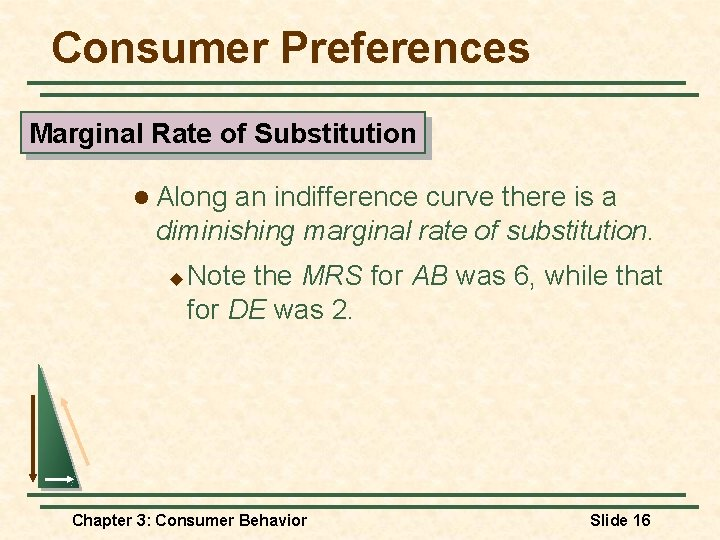 Consumer Preferences Marginal Rate of Substitution l Along an indifference curve there is a