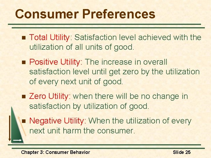 Consumer Preferences n Total Utility: Satisfaction level achieved with the utilization of all units